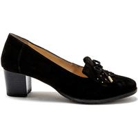 Chaussures Femme Escarpins Pediconfort Trotteurs en cuir franges et clous noir