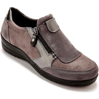 Chaussures Femme Slip ons Pediconfort Sans-gêne semelle amovible extra larges gris