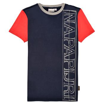 Vêtements Garçon T-shirts manches courtes Napapijri SAOBAB Marine / Rouge
