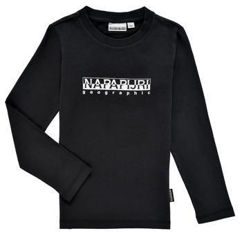 Vêtements Garçon T-shirts manches longues Napapijri S-BOX LS Noir