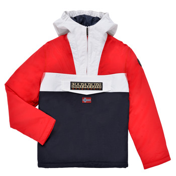 Vêtements Garçon Parkas Napapijri RAINFOREST POCKET Bleu / Blanc / Rouge