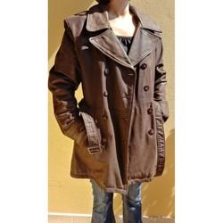 Vêtements Femme Trenchs Vintage Trench-Veste en Nubuck cuir de vachette, Taille M Marron