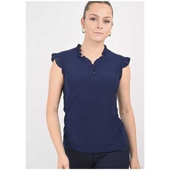 Vêtements Femme Tout accepter et fermer Georgedé Top Mia à Froufrous Bleu Marine Bleu