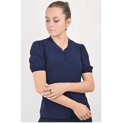 Vêtements Femme Tout accepter et fermer Georgedé Top Tessa à Froufrous Bleu Marine Bleu