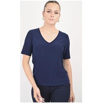 Vêtements Femme Tout accepter et fermer Georgedé Top  Alonza Manches Courtes en Jersey Bleu Marine Bleu