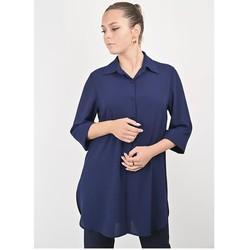 Vêtements Femme Chemises / Chemisiers Georgedé Tunique Maribel en Crêpe Bleu Marine Bleu