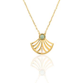 Montres & Bijoux Femme Colliers / Sautoirs Yucatan Collier  en Plaqué Or et Aventurine Jaune