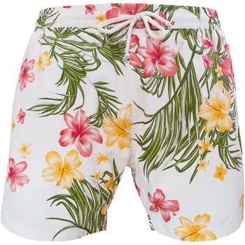 Vêtements Homme Maillots / Shorts de bain Les Loulous De La Plage Short de bain homme MONTAUK Ibiscus tropical Blanc