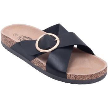 Chaussures Femme Mules Primtex Mules  double lanières croisées semelle confort intérieure cuir Noir