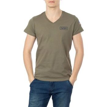 Vêtements Homme T-shirts manches courtes Nasa BASIC FLAG V NECK Vert
