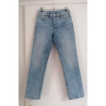 Vêtements Femme Jeans droit Sans marque Jean droit longueur cheville T36 Bleu