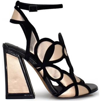 Chaussures Femme Sandales et Nu-pieds Exé Shoes Exe' DOMINIC-440 Sandales Femme NOIR / CHAMPAGNE NOIR / CHAMPAGNE