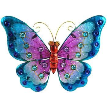 Maison & Déco Statuettes et figurines Le Monde Des Animaux Papillon déco murale 21 x 25 cm - modèle Bleu Bleu