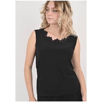 Vêtements Femme Tout accepter et fermer Georgedé Top Dulce en Jersey et Dentelle Noir Noir