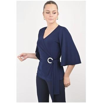 Vêtements Femme Tout accepter et fermer Georgedé Top Paula en Jersey Bleu Marine Bleu