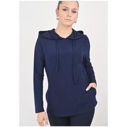 Vêtements Femme Sweats Georgedé Haut Yuna à Capuche en Jersey Bleu Marine Bleu