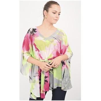 Vêtements Femme Tout accepter et fermer Georgedé Tunique Maelie en Mousseline Imprimée Rose et Vert Multicolore