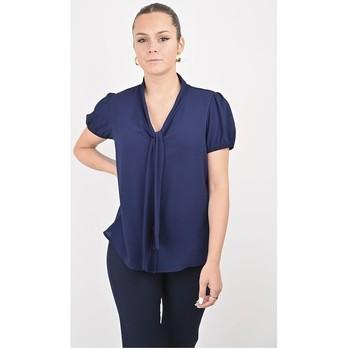 Vêtements Femme Chemises / Chemisiers Georgedé Chemisier Naëlle Col Lavallière en Crêpe Bleu Marine Bleu