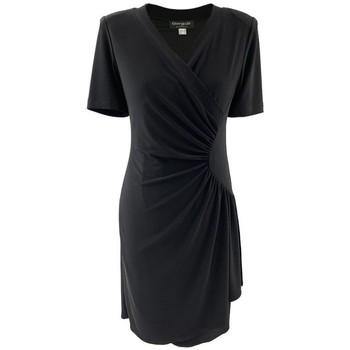 Vêtements Femme Robes courtes Georgedé Robe Théa Drapée et Croisée en Jersey Noire Noir