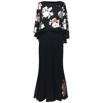 Vêtements Femme Robes longues Georgedé Robe Madina en Mousseline Noire et Floqué Satin Fleuri Noir