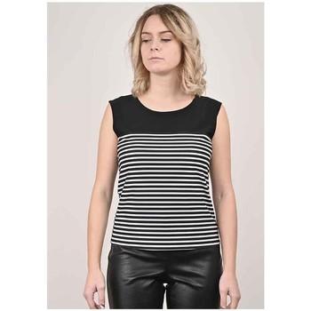 Vêtements Femme Tout accepter et fermer Georgedé Top Cathy en Jersey Imprimé Rayures Noir Multicolore