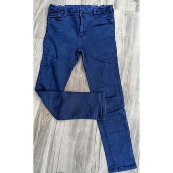 Vêtements Enfant Jeans slim Sans marque Jean's Unisexe enfant bleu indigo aspect délavé taille réglable Bleu
