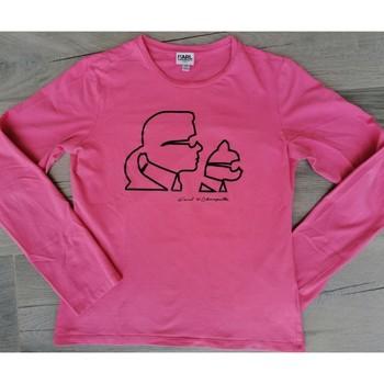 Vêtements Fille T-shirts manches longues Karl Lagerfeld Tee-shirt fille manches longues rose Karl Lagerfeld Kids motifs Rose