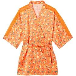Vêtements Femme Pyjamas / Chemises de nuit Pommpoire Kimono imprimé orange Nouméa Orange