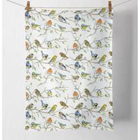 Maison & Déco Torchons Le Monde Des Animaux Torchon en coton - Rencontre des oiseaux  50 x 70 cm Blanc