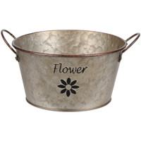 Maison & Déco Vases, caches pots d'intérieur Retro Cache Pot de Fleurs FLOWER en Métal aspect zinc 9 cm Gris