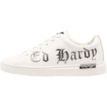 Chaussures Baskets mode Ed Hardy Script low top white-gun metal Blanc