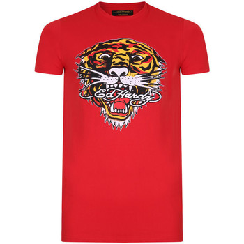 Vêtements T-shirts manches courtes Ed Hardy Tiger mouth graphic t-shirt red Rouge