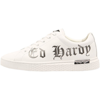 Chaussures Homme Baskets basses Ed Hardy - Script low top white-gun metal Blanc