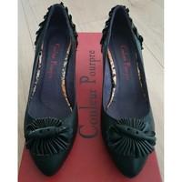 Chaussures Femme Escarpins Couleur Pourpre Escarpins en cuir noir Couleur Pourpre Noir