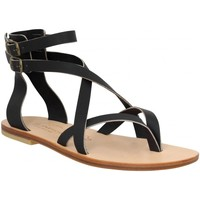 Chaussures Femme Votre prénom doit contenir un minimum de 2 caractères Spartiates Phoceennes Paros cuir Femme Noir Noir