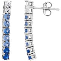 Montres & Bijoux Femme Boucles d'oreilles Cleor Boucles d'oreilles  en Argent 925/1000 Blanc et Oxyde Bleu Blanc