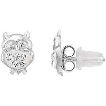 Montres & Bijoux Femme Boucles d'oreilles Cleor Puces  en Argent 925/1000 Blanc et Cristal Blanc