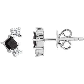 Montres & Bijoux Femme Boucles d'oreilles Cleor Boucles d'oreilles  en Argent 925/1000 Blanc et Oxyde Noir Blanc