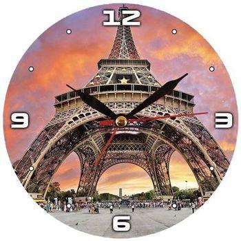 Maison & Déco Horloges Paris Grande Pendule ronde en verre Orange