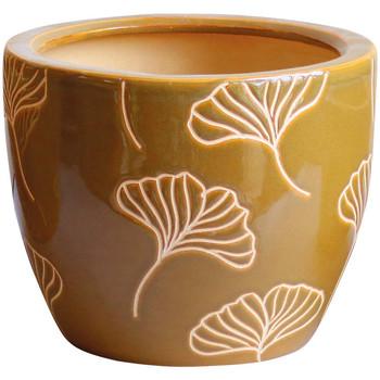 Maison & Déco Vases, caches pots d'intérieur Décolines Cache pot Jaune Ginkgo en Terre Cuite 18 cm Jaune