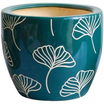 Maison & Déco Vases, caches pots d'intérieur Décolines Cache pot vert Ginkgo en Terre Cuite 14 cm Vert