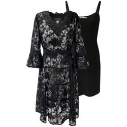Vêtements Femme Robes courtes Georgedé Robe Valentina en Dentelle Noire Evasée Noir