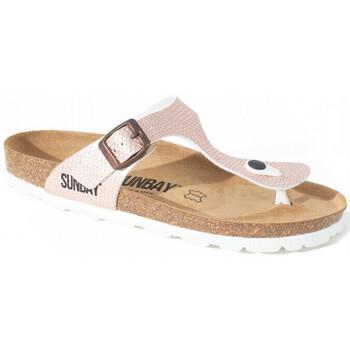 Chaussures Femme Tongs Sunbay Nu-pieds semelle en cuir CAMELIA Or