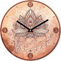 Maison & Déco Horloges Indiens D'amérique Pendule Lotus ronde Boho 28 cm Marron