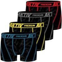 Sous-vêtements Homme Boxers Freegun Lot de 4 Boxers homme Aktiv surpiqûres colorées Noir