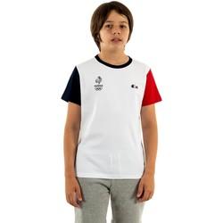 Vêtements Garçon T-shirts manches courtes Lacoste tj3746 a10 /marine- blanc
