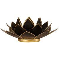 Maison & Déco Bougeoirs, photophores Zen Et Ethnique Porte Bougie Fleur de Lotus noir et or Noir