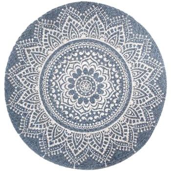 Maison & Déco Tapis Zen Et Ethnique Tapis Mandala 90 cm - Gris Bleu Gris