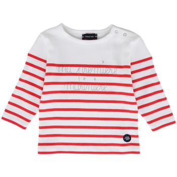 Vêtements Enfant T-shirts manches longues Armor Lux Ma première marinière Blanc/Framboisier