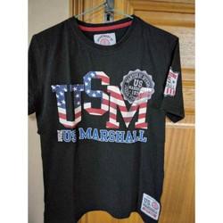 Vêtements Garçon T-shirts manches courtes U.S Marshall Tee-shirt US MARSHALL Noir